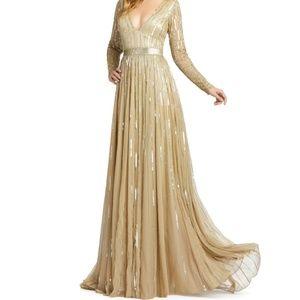 MAC DUGGAL Long Sleeve Sequin & Bead Stripe Gown